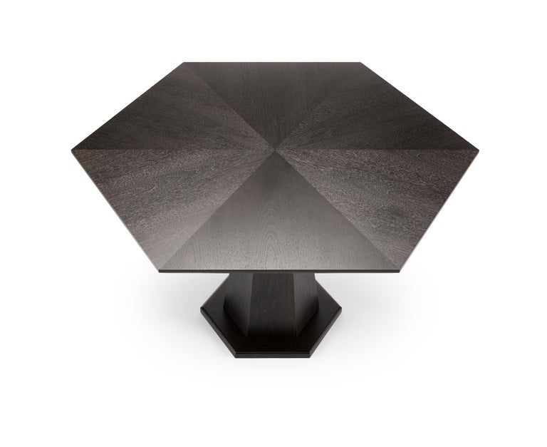 Modern Contemporary Hex Dining Table in Oak or Walnut with Machined Brass For Sale