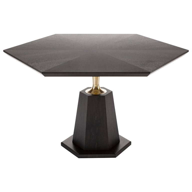 Contemporary Hex Dining Table in Oak or Walnut with Machined Brass For Sale