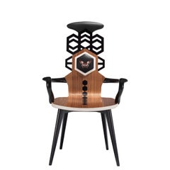 Contemporary Hex High Chair in Walnut Canaletto Wood and Leather