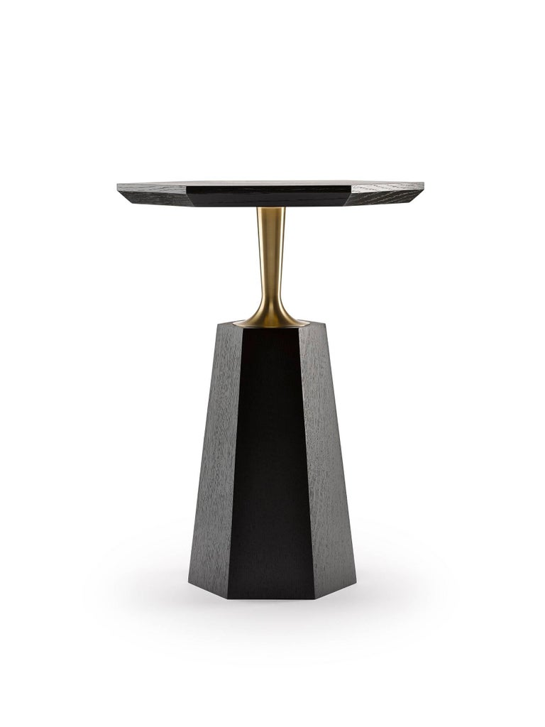 Modern Contemporary Hex Side Table in Oak or Walnut with Machined Brass For Sale
