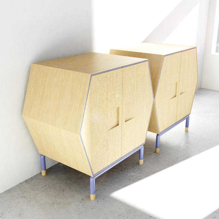 Mexican Contemporary Hexagonal Credenza in Solid Wood with Outline Metal Detail For Sale
