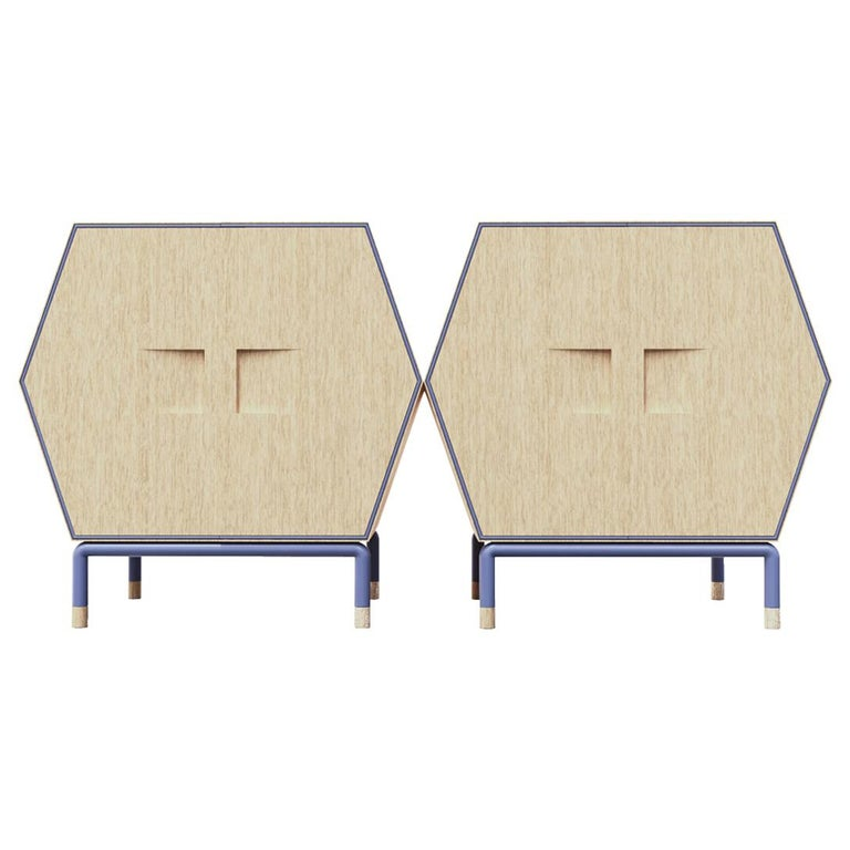 Contemporary Hexagonal Credenza in Solid Wood with Outline Metal Detail For Sale