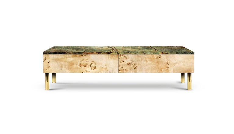 Contemporary HIFOSS Sideboard or Console in Walnut, Brass and Marble For Sale 3