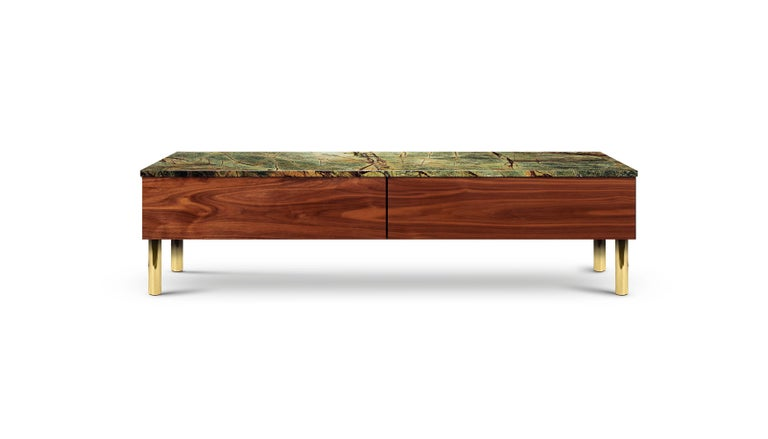 Contemporary HIFOSS Sideboard or Console in Walnut, Brass and Marble For Sale 4