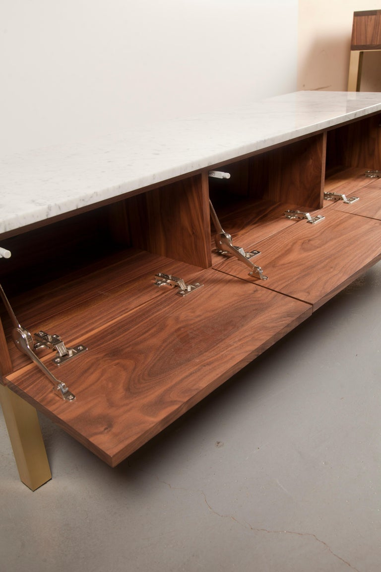 Mid-Century Modern Contemporary HIFOSS Sideboard or Console in Walnut, Brass and Marble For Sale