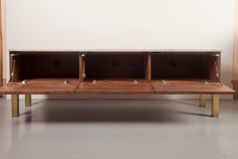 Latvian Contemporary HIFOSS Sideboard or Console in Walnut, Brass and Marble For Sale