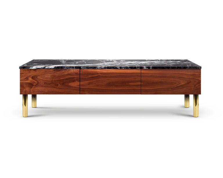 Carrara Marble Contemporary HIFOSS Sideboard or Console in Walnut, Brass and Marble For Sale