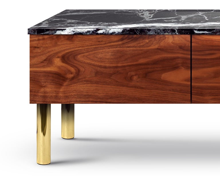 Contemporary HIFOSS Sideboard or Console in Walnut, Brass and Marble For Sale 1
