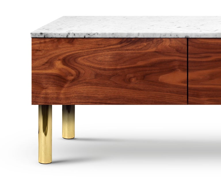 Contemporary HIFOSS Sideboard or Console in Walnut, Brass and Marble For Sale 2