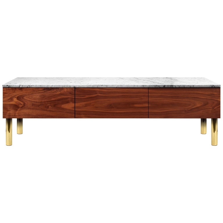 Contemporary HIFOSS Sideboard or Console in Walnut, Brass and Marble For Sale