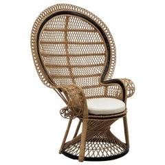 Contemporary High-Back Rattan Garden Armchair