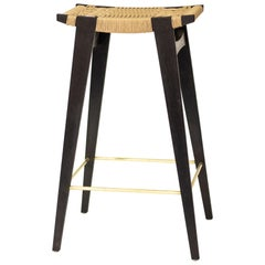 Contemporary High-pi Bar Stool, Oak with Danish Cord Seat & Brass Foot Rails