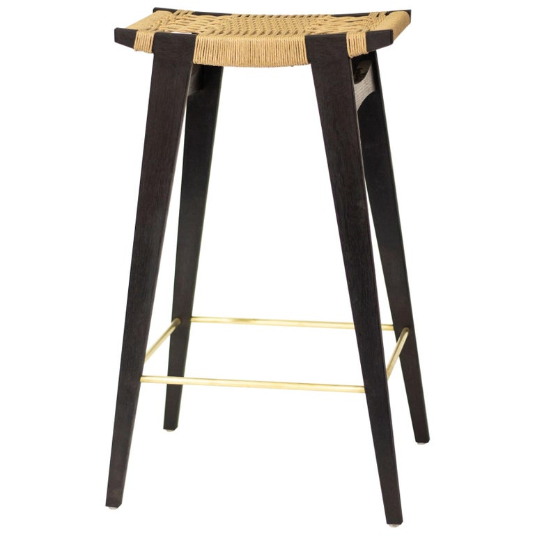 Astonishing Contemporary High Pi Bar Stool Oak With Danish Cord Seat Brass Foot Rails Pdpeps Interior Chair Design Pdpepsorg