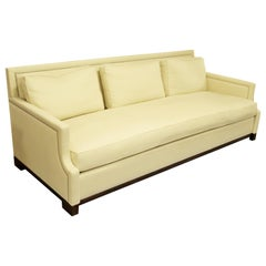 Contemporary Holly Hunt Studio H Large Cream Sofa Black Lacquer