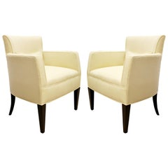 Contemporary Holly Hunt Studio H Pair of White Lounge Armchairs