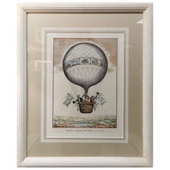 Contemporary Hot-Air Balloon Colored Print, Handmade in Italy Set of Three