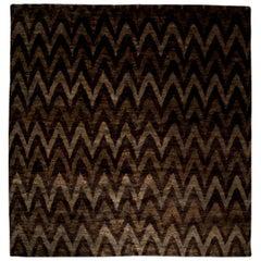 Contemporary Ikat 'Rainbow' Geometric Gray and Black Handmade Rug