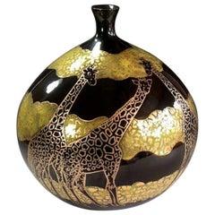 Contemporary Imari Black Gilded Decorative Porcelain Vase by Master Artist, 2018