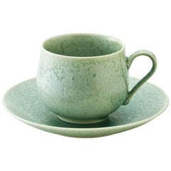 Contemporary Imari Glazed Green Porcelain Cup and Saucer by Master Artist