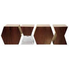 """XY"" Contemporary Imbuia and Acrylic Benches - Immediate Delivery"