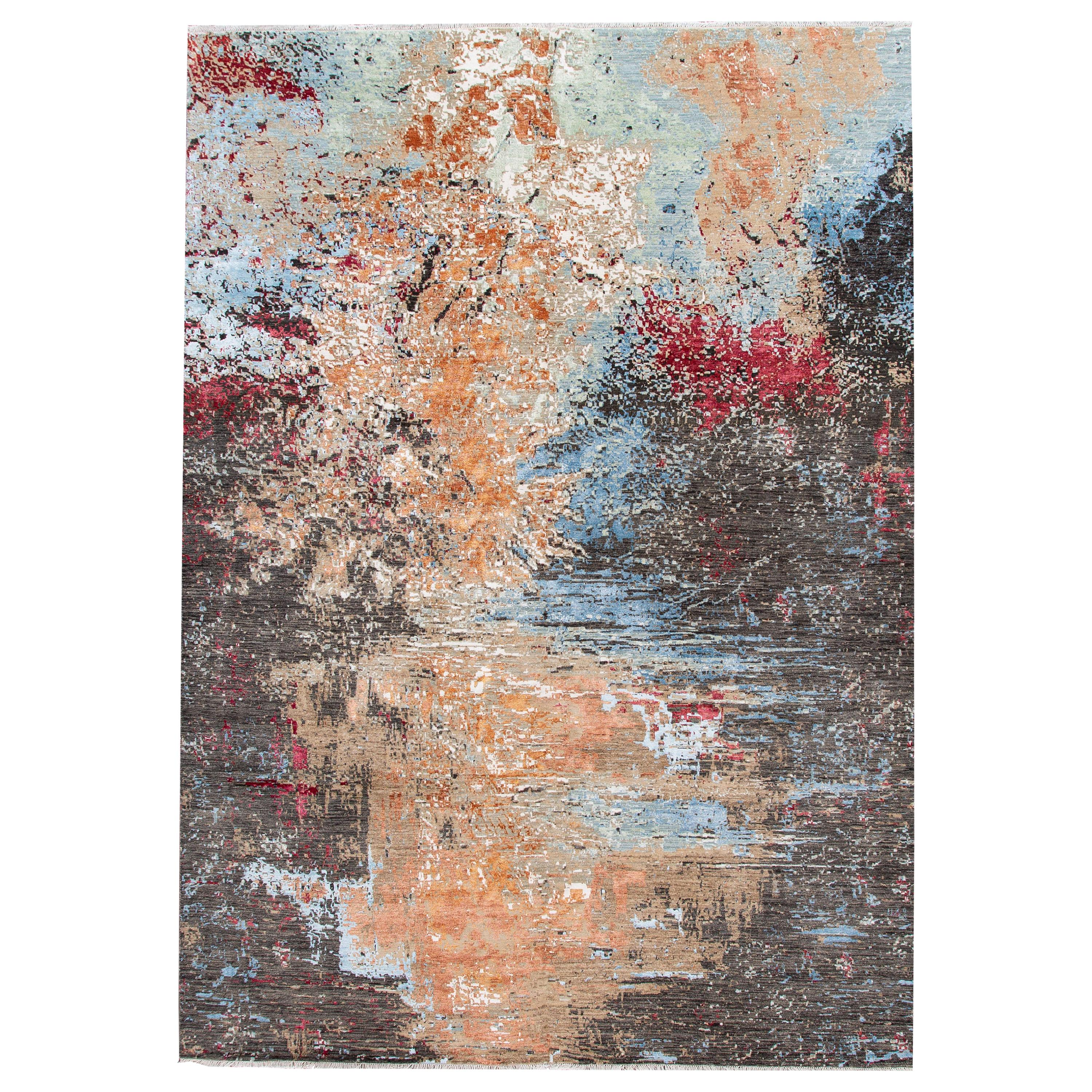 Contemporary Indian Abstract Multicolor Handmade Wool and Silk Rug