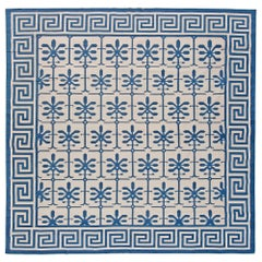 Contemporary Indian Dhurrie Blue and White Hand Knotted Cotton Rug