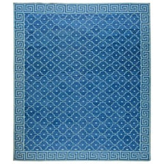 Contemporary Indian Dhurrie Blue Hand Knotted Cotton Rug