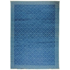 Contemporary Indian Dhurrie Deep Blue Flat-Woven Cotton Rug