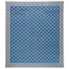Contemporary Indian Dhurrie Off-White and Indigo Flat-Woven Cotton Rug