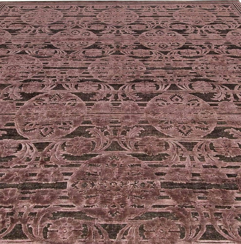 Modern Contemporary Indian Lilac and Plum Hand Knotted Wool and Silk Rug For Sale