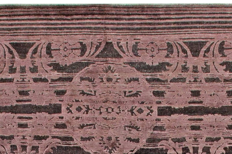 Hand-Knotted Contemporary Indian Lilac and Plum Hand Knotted Wool and Silk Rug For Sale