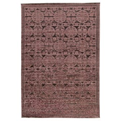Contemporary Indian Lilac and Plum Hand Knotted Wool and Silk Rug