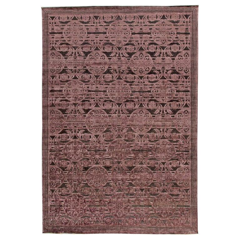 Contemporary Indian Lilac and Plum Hand Knotted Wool and Silk Rug For Sale