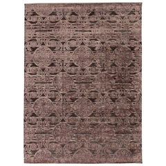 Contemporary Indian Lilac and Plum Handwoven Silk and Wool Rug