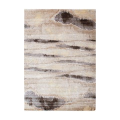 Contemporary Indian Silk Rug with Abstract Patterns in Black, Gray & Brown