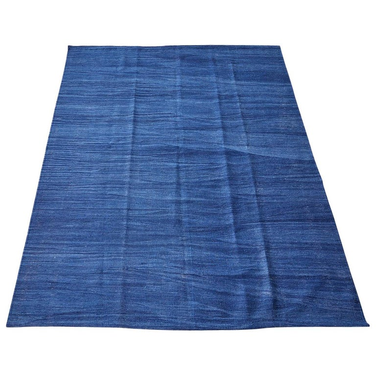 Contemporary Indigo Blue Anatolian Kilim For Sale