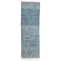 Contemporary Indigo Blue Moroccan Berber Runner Rug