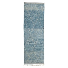 Contemporary Indigo Blue Moroccan Berber Runner Rug