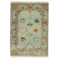 Contemporary Indo-Oushak Accent Rug with Eclectic Coastal Boho Style