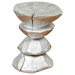 Contemporary Indonesian Silver-Colored Pedestal with Hourglass-Inspired Shape