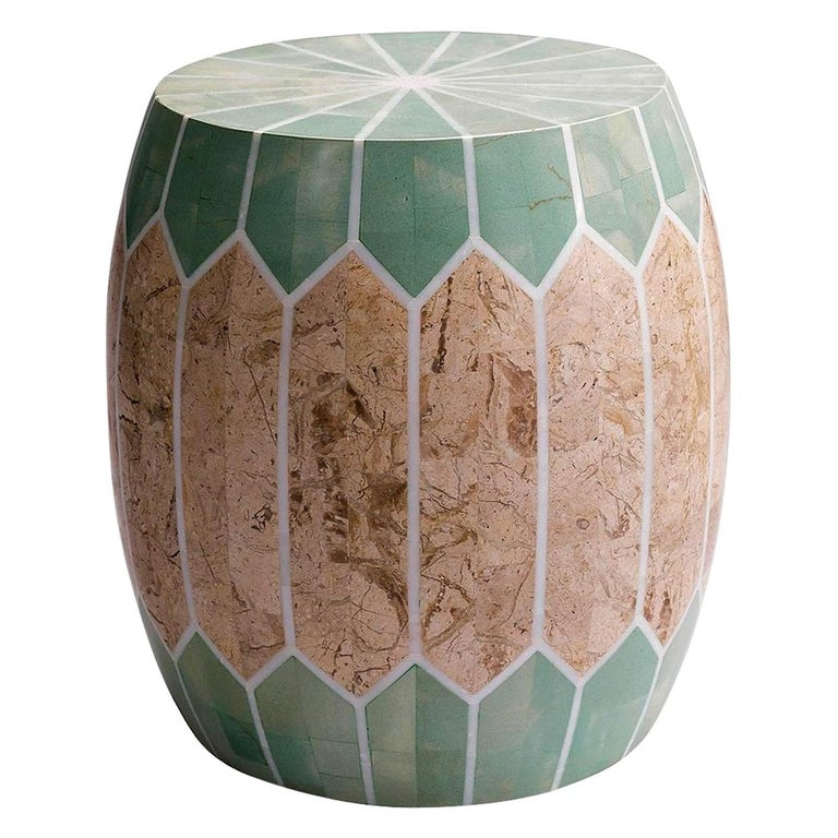 Contemporary Indoor or Outdoor Stone Side Table/Stool For Sale