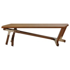 Contemporary Industrial Walnut Bench, by Peter Harrison, in Stock