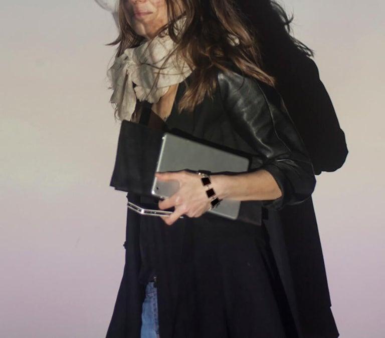 Artist Contemporary Ink Bracelet with Dark Smoky Quartzes For Sale