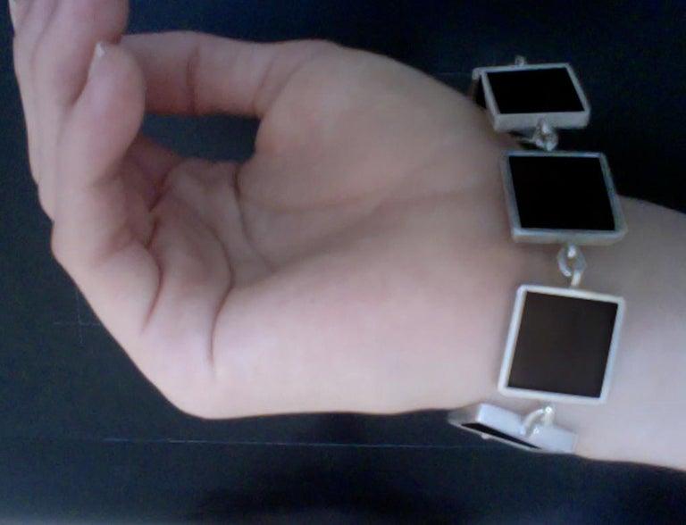 Women's or Men's Contemporary Ink Bracelet with Dark Smoky Quartzes For Sale