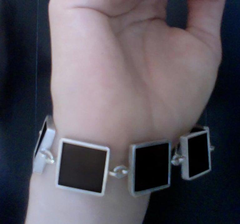 Contemporary Ink Bracelet with Dark Smoky Quartzes For Sale 2