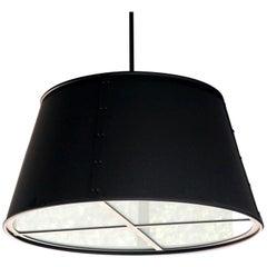 Contemporary Interior Drum Shade Pendant, Stephen Shadley design, Black Finish