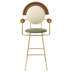 Contemporary Iris Bar Stool with Leather and Brass