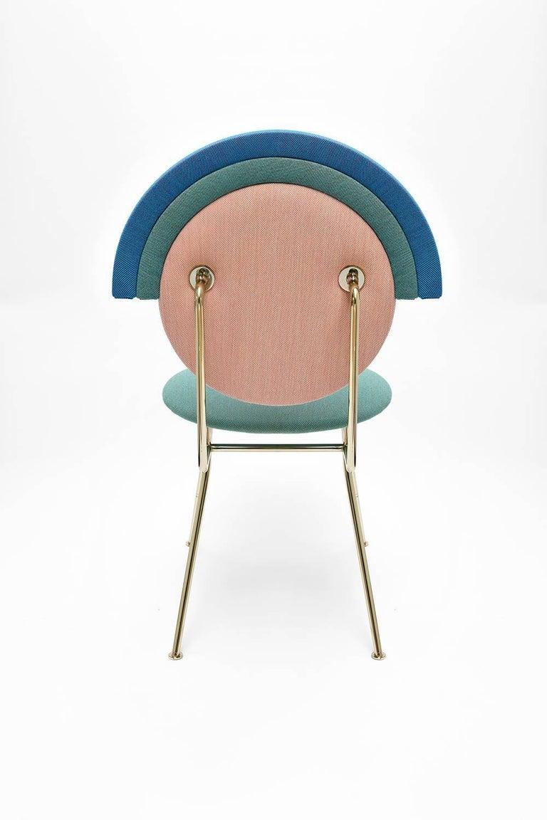 Arts and Crafts Contemporary Iris Chair with Brass Finished Legs For Sale