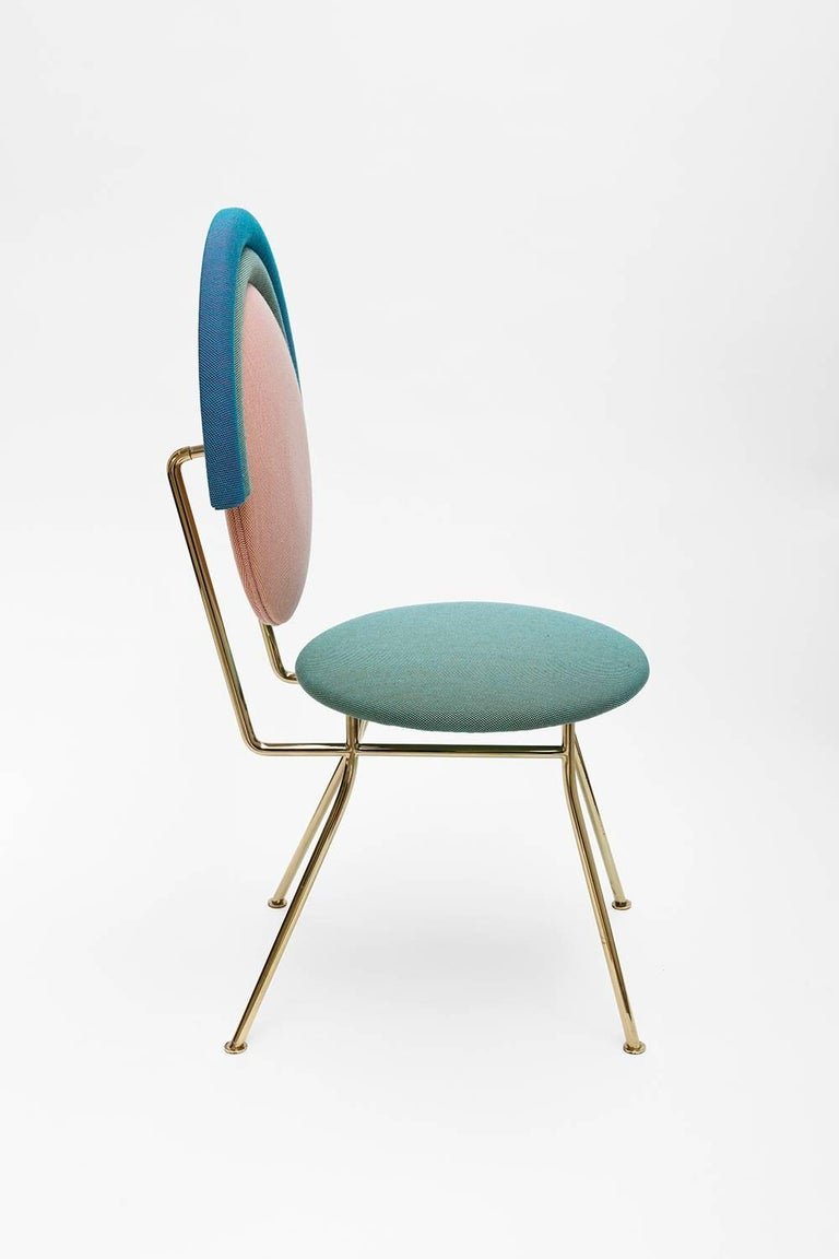 Turkish Contemporary Iris Chair with Brass Finished Legs For Sale