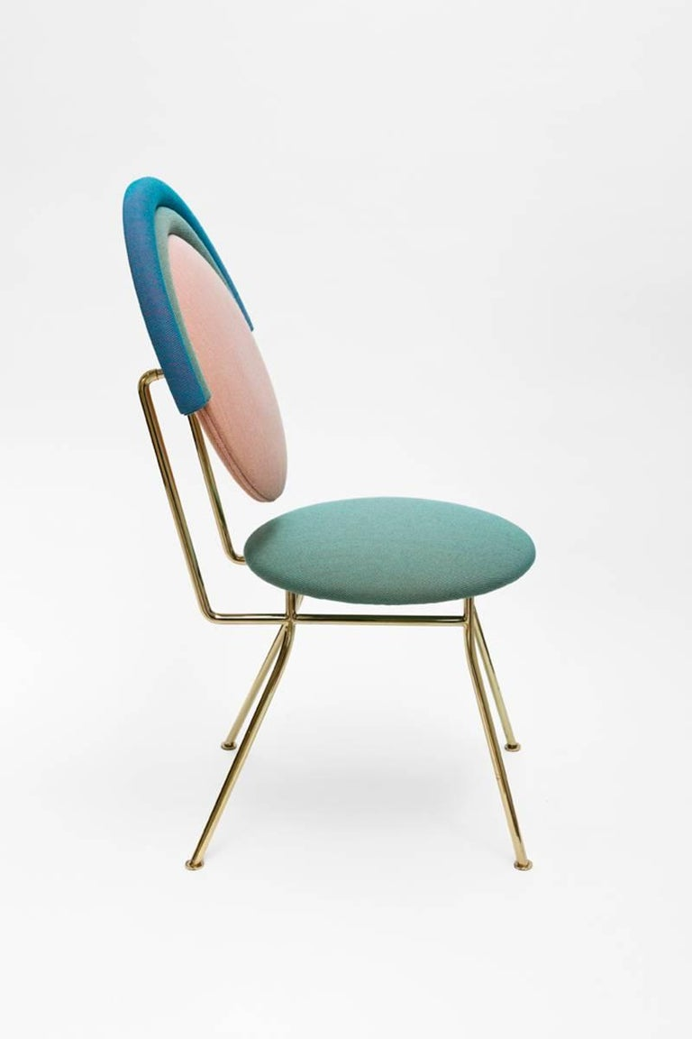 Welded Contemporary Iris Chair with Brass Finished Legs For Sale